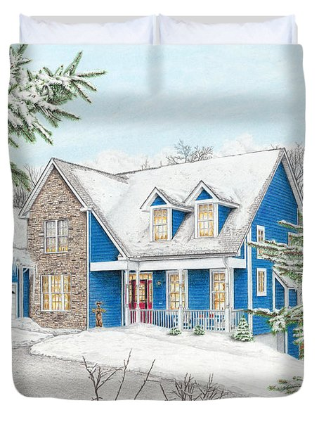 Duvet Cover featuring the painting Wiley House by Albert Puskaric