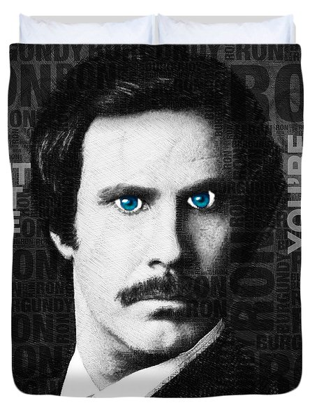 Will Ferrell Anchorman The Legend Of Ron Burgundy Words Black And White Duvet Cover by Tony Rubino