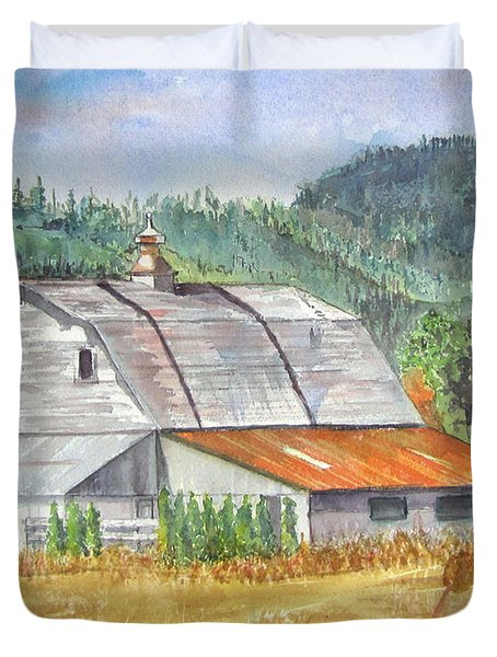 Duvet Cover featuring the painting Willamette Valley Barn by Carol Flagg
