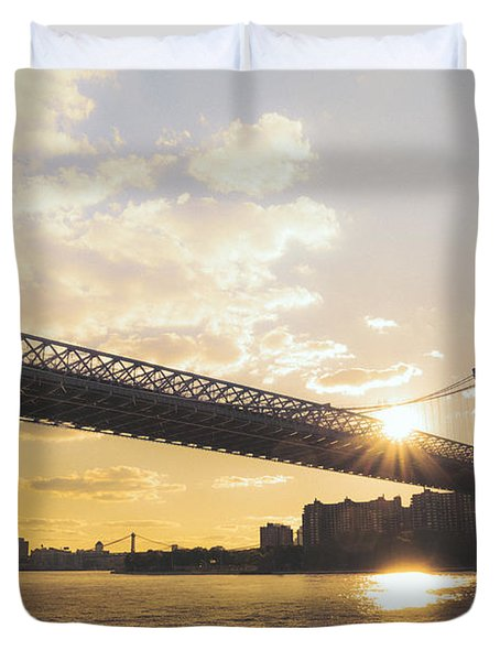 Williamsburg Bridge - Sunset - New York City Duvet Cover