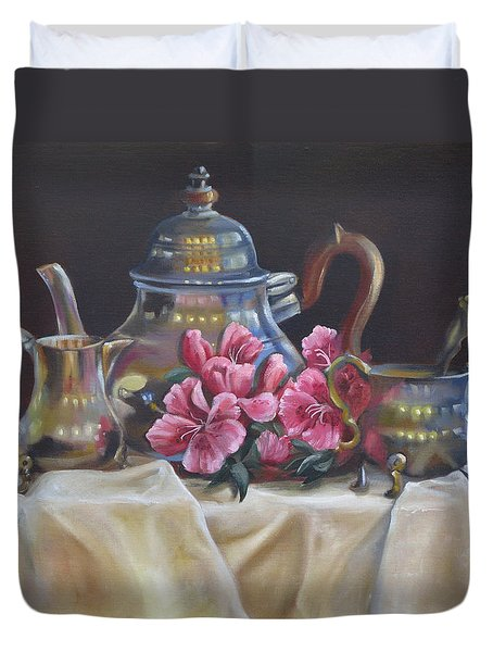 Duvet Cover featuring the painting Williamsburg Stieff Tea Set by Phyllis Beiser