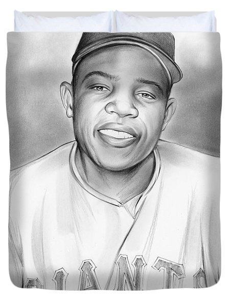 Willie Mays Duvet Cover by Greg Joens