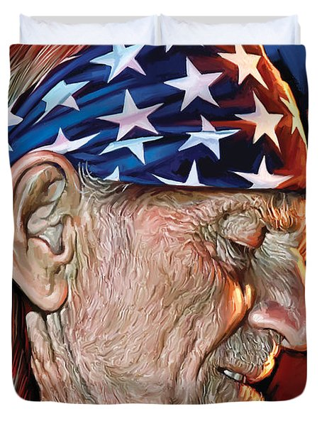 Duvet Cover featuring the painting Willie Nelson Artwork by Sheraz A