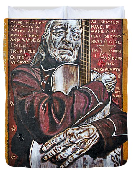 Willie Nelson Duvet Cover by Bob Hislop