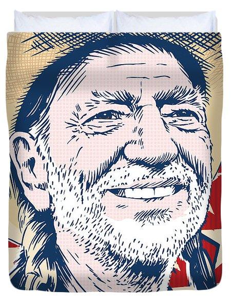 Willie Nelson Pop Art Duvet Cover