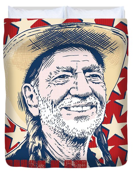 Willie Nelson Pop Art Duvet Cover by Jim Zahniser