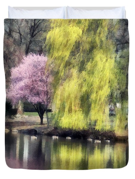 Willow And Cherry By Lake Duvet Cover by Susan Savad