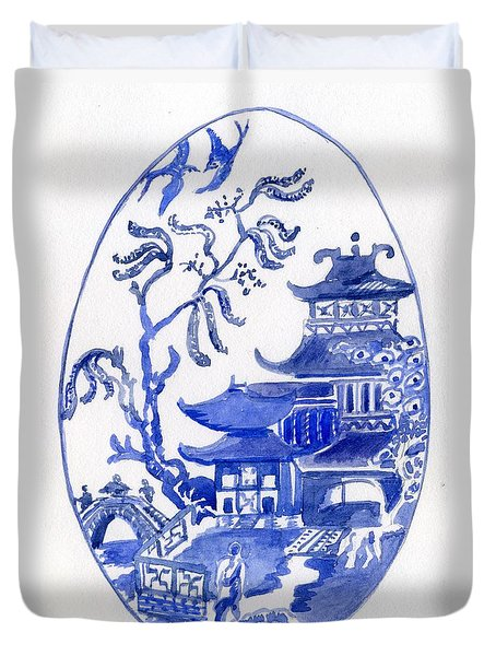 Willow Pattern Egg I Duvet Cover