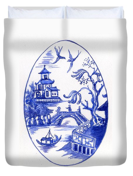 Willow Pattern Egg II Duvet Cover
