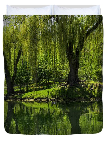 Willows Weep Into Their Reflection  Duvet Cover