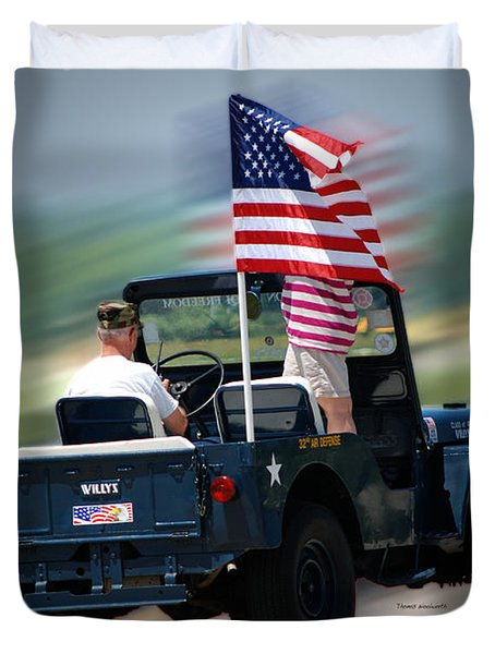 Willy Jeep From The 32nd Air Defense Duvet Cover by Thomas Woolworth