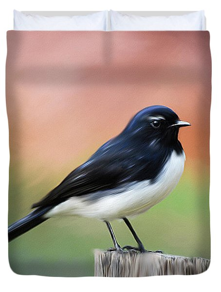 Willy Wagtail Austalian Bird Painting Duvet Cover
