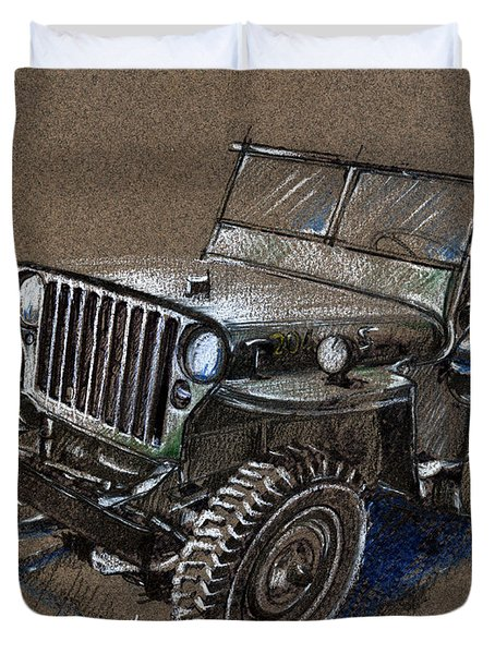Willys Car Drawing Duvet Cover