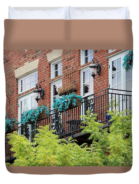 Blue Flowers On A Balcony  Duvet Cover