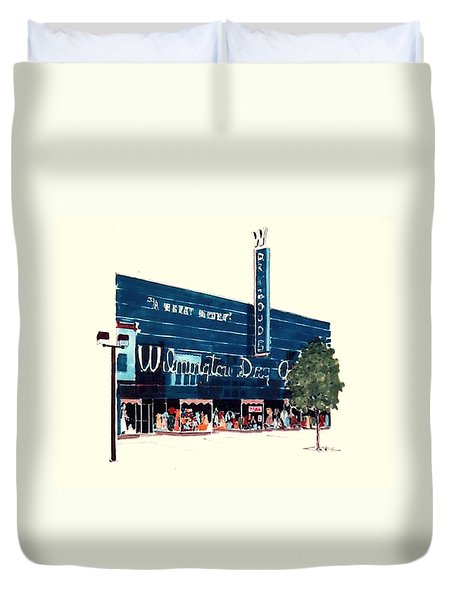 Duvet Cover featuring the painting Wilmington Dry Goods by William Renzulli