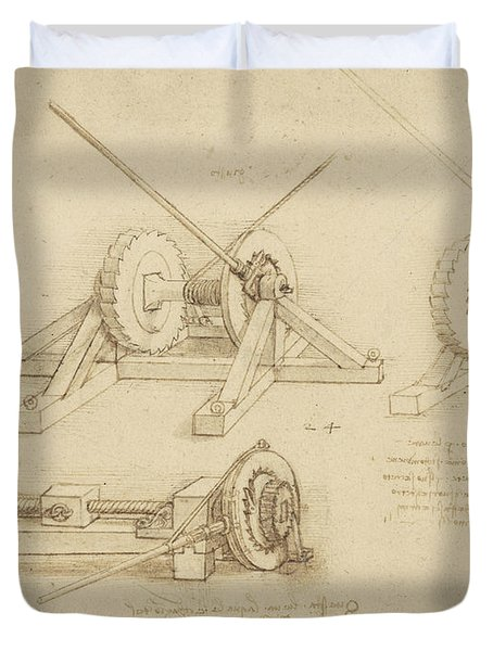 Winch Great Spring Catapult And Ladder From Atlantic Codex Duvet Cover by Leonardo Da Vinci