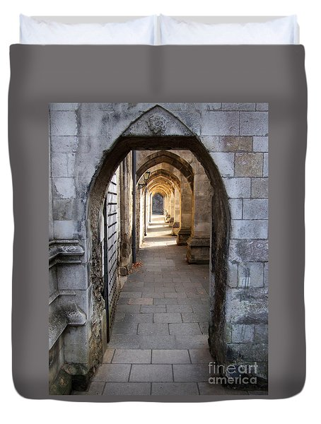 Duvet Cover featuring the photograph Arches - Winchester Cathedral - England by Phil Banks