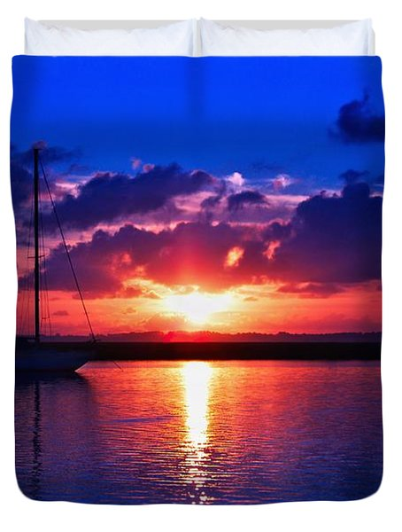 Wind Fall Sunrise Duvet Cover by Laura Ragland