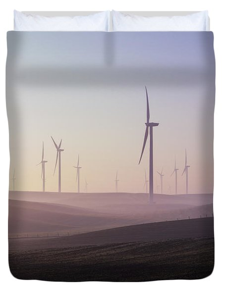 Wind Farm At Dawn Duvet Cover