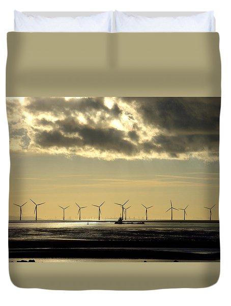 Wind Farm At Sunset Duvet Cover