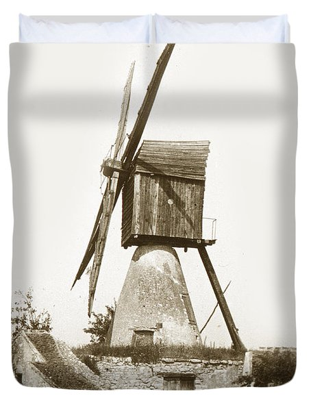 Duvet Cover featuring the photograph Wind Mill In France 1900 Historical Photo by California Views Mr Pat Hathaway Archives