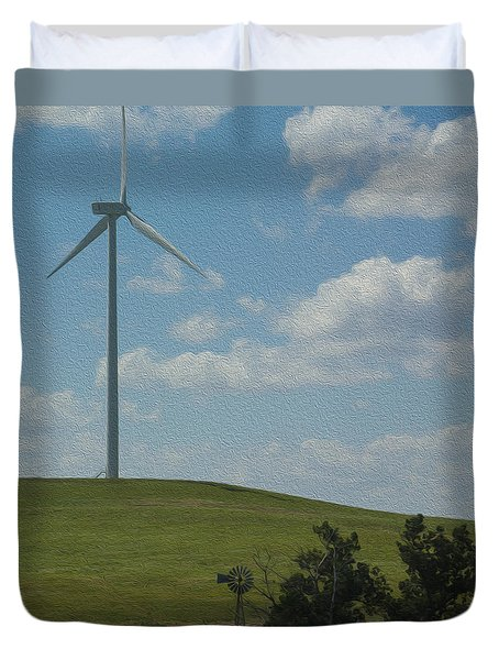 Duvet Cover featuring the photograph Wind Power Old Meets New Oil Painting by Chris Thomas