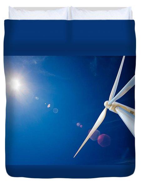 Wind Turbine And Sun  Duvet Cover