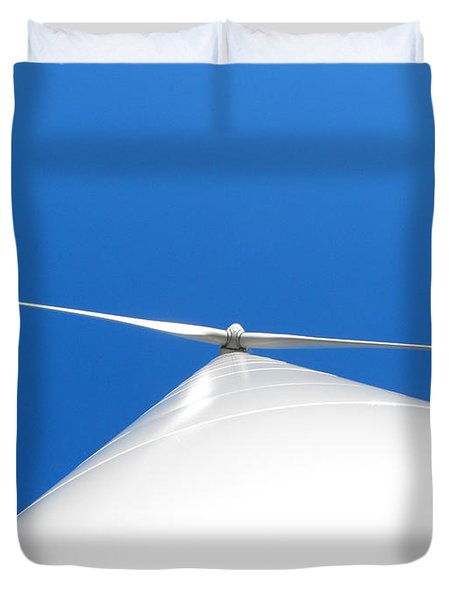 Wind Turbine Blue Sky Duvet Cover