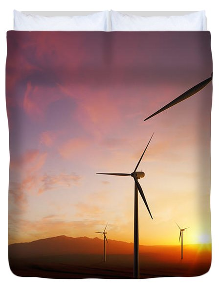 Wind Turbines At Sunset Duvet Cover