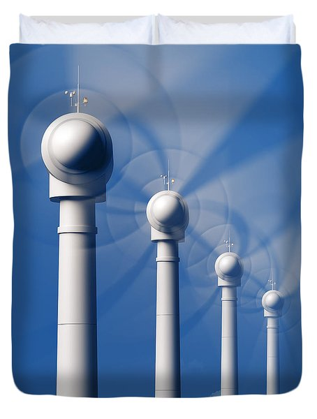 Wind Turbines In Motion From The Front Duvet Cover