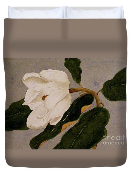 Duvet Cover featuring the painting Windblown Magnolia by Nancy Kane Chapman