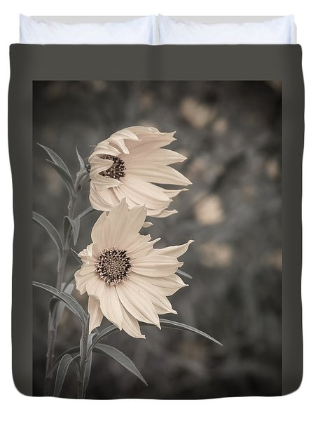Windblown Wild Sunflowers Duvet Cover