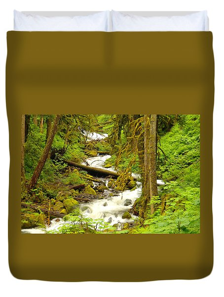 Winding Through The Forest Duvet Cover by Jeff Swan
