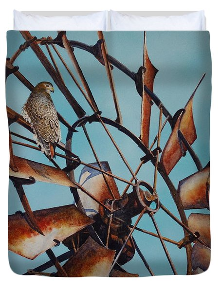 Windmill And Hawk Duvet Cover
