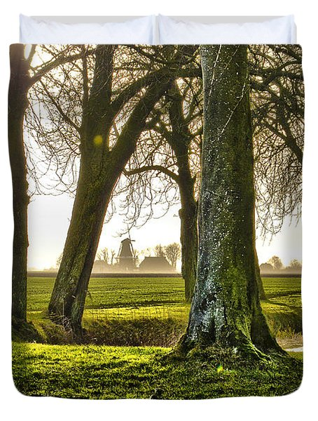 Windmill And Trees In Groningen Duvet Cover