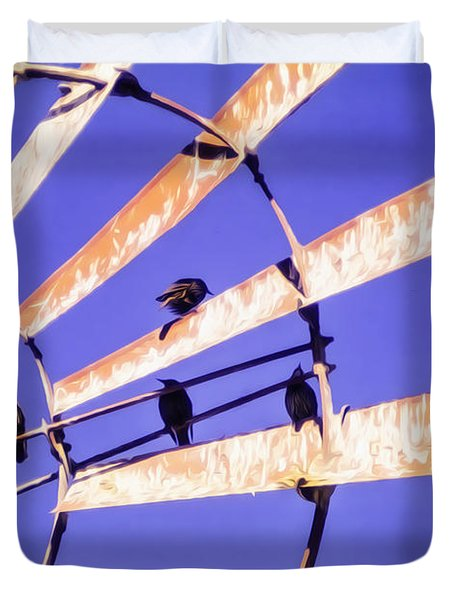 Windmill Birds Duvet Cover
