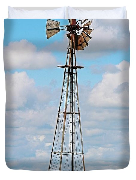 Windmill In Canola Field Duvet Cover