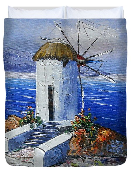 Windmill In Greece Duvet Cover by Elena  Constantinescu