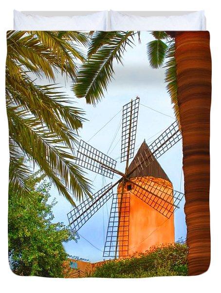 Windmill In Palma De Mallorca Duvet Cover