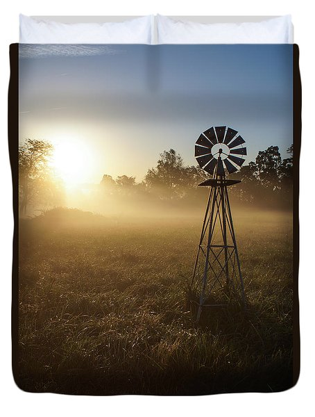 Windmill In The Fog Duvet Cover