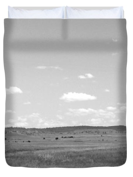 Windmill On The Plains - Black And White Duvet Cover by Kaleidoscopik Photography