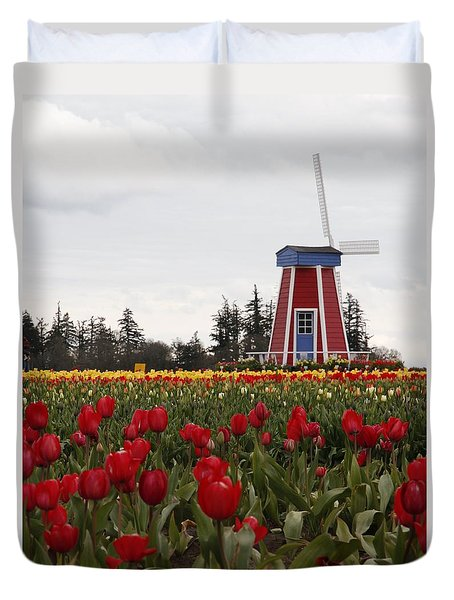 Windmill Red Tulips Duvet Cover by Athena Mckinzie