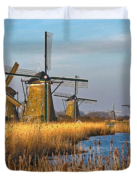 Windmills And Reeds Near Kinderdijk Duvet Cover