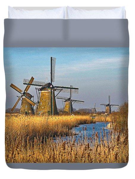 Windmills And Reeds Near Kinderdijk Duvet Cover