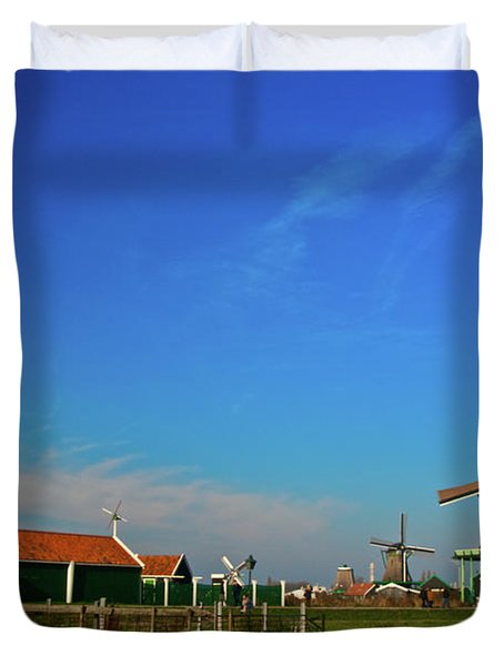 Windmills At Zaanse Schans Duvet Cover by Jonah  Anderson