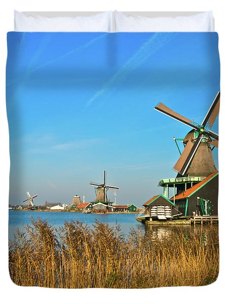 Windmills On De Zaan Duvet Cover by Jonah  Anderson