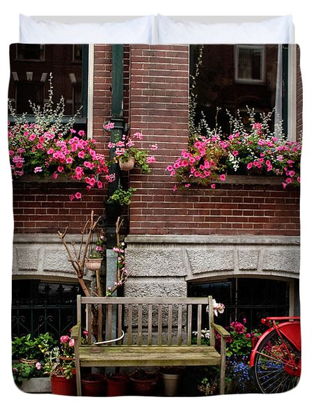 Window Box Bicycle And Bench  -- Amsterdam Duvet Cover