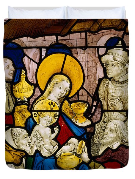 Window Depicting The Adoration Of The Kings Duvet Cover by Flemish School
