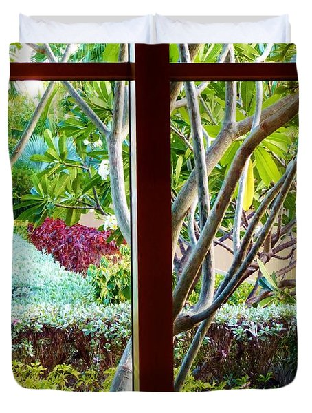 Duvet Cover featuring the photograph Window Garden by Amar Sheow