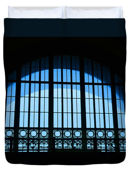Duvet Cover featuring the photograph Window In Chattanooga Train Depot by Susan  McMenamin